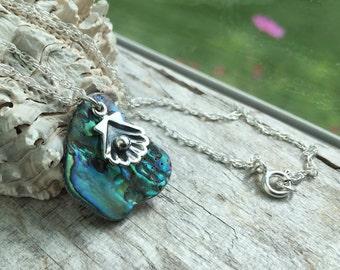 Abalone Jewelry - Abalone shell necklace with sterling silver shell charm - Sterling silver necklace -  Beach jewelry - Sea jewelry - Gift