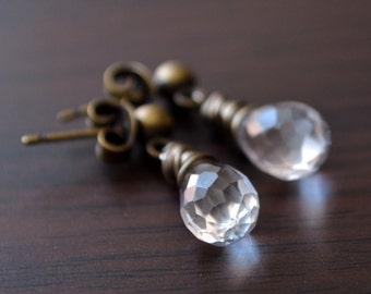 Crystal Quartz Earrings, Drop, Antiqued Brass Stud Posts, Wire Wrapped Gemstones, Bridal, Dark Bronze, Rustic Wedding Jewelry