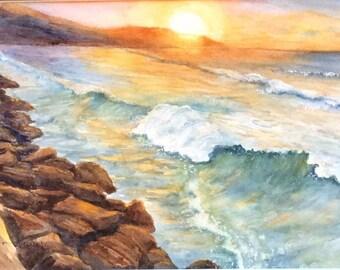 Sunset in Hawaii (Giclee Print)