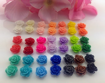 50pcs Mixed Color 10MM Resin Rose Flower Flat Back Pink Resin Cabochon (No Hole)