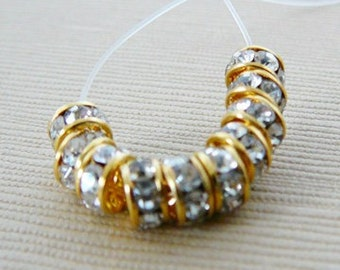 Clear Czech Rhinestone Bead, 4.5mm Rondel Spacer with Brass Frame