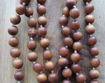 No Tassel Sandalwood Mala, 108 Bead Mala, Hand Knotted,Prayer Beads, Long Necklace, Beaded Mala, Yoga Jewelry, Japa Mala, Meditation