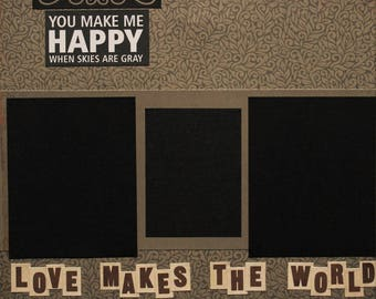 Two 12x12 Premade Scrapbook Pages - Love Makes the World Go Round