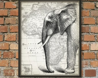 African Elephant On Antique Map Of Africa Print - African Elephant Poster - Elephant Print - Elephant Poster - Elephant Room Decor