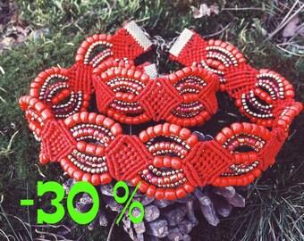 Macrame set jewelry/Macrame Necklace/Macrame Choker/Macrame bracelet/Boho choker/Bohemian/Modern macrame/Boho bracelet/Hippie choker/Gypsy