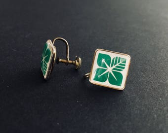 60's Green Modern Floral Screw Back Earrings