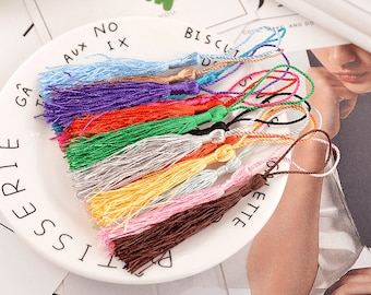 13cm Multi-Colored Small Chinese Knot Tassel Cord Loop Floss Bookmark Jewelry Making DIY Craft