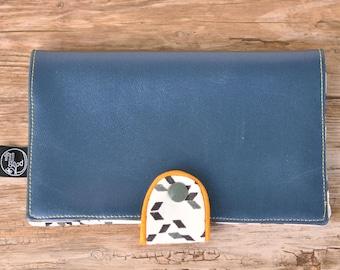 Metallic blue checkbook and Twist Mustard