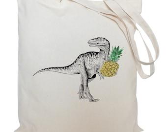 Tote bag/ drawstring bag/ dinosaur with a pineapple/ T-Rex/ cotton bag/ material shopping bag/ shoe bag/ market bag