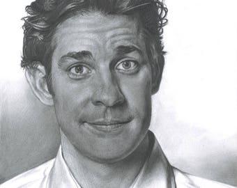 Drawing Print of John Krasinski as Jim Halpert in TV's The Office ** UPDATED