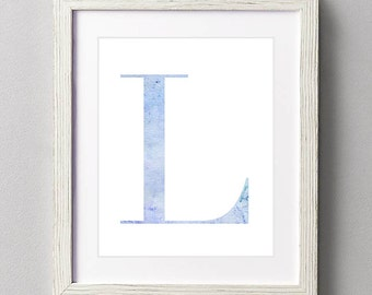 Letter L | Nursery Print | Nursery Art | Alphabet | Instant Download | Digital Print | Wall Art | Baby Boy | Initials | Blue | Watercolor