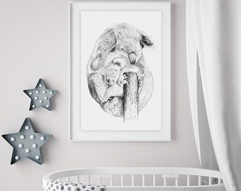 "Nursery art limited edition Giclee print ""Koala snuggle"""