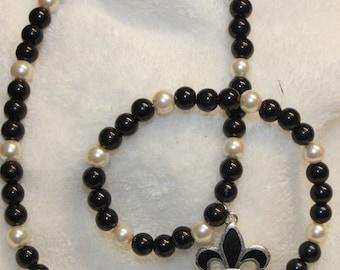 Black and White Beaded Fleur De lis Necklace
