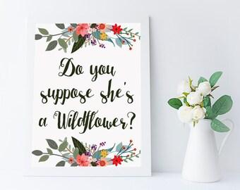 Croyez-vous qu'elle est une citation de wildflower imprimable - fille chambre décoration - décoration chambre d'enfant - fille muraux - alice au pays des merveilles - 8 x 10 - A4