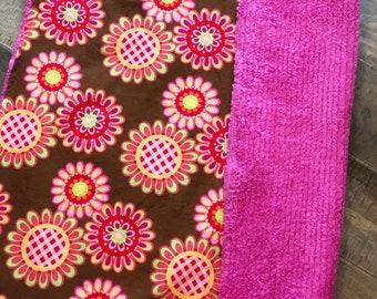 Baby Blanket  - Brown Floral - Designer Baby Blanket  - Pink Chenille Backing