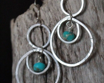 Silver Circle Hoops with Turquoise
