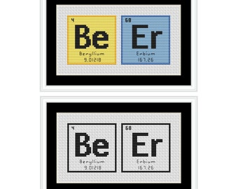 BeEr Periodic Table Chemical Element PDF Cross Stitch Chart