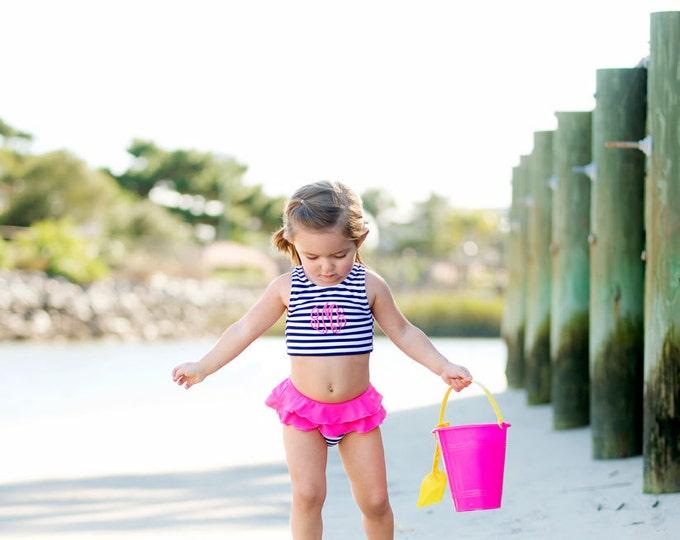 Girls Monogram Swimsuit, Navy Stripe, Summer Paisley, Turtle Tide, Mint, Swimsuit Set, Girls Monogrammed swimsuit, Monogrammed Swimsuit