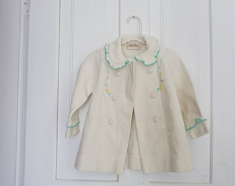 Vintage Baby Toddler Spring Jacket Clothing Girls Outfit Vintage Girls White Floral Coat Made by Little World