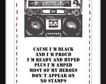 Public Enemy Fight the Power Lyrics Unframed Print