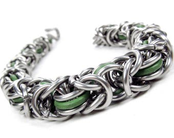 Thick Green - Chainmaille Bracelet - Byzantine