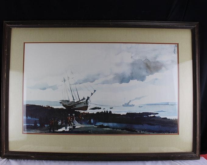 Andrew Wyeth (American, 1917-2009) Schooner Aground Original Collotype Print Seascape