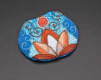 Purse embroidery fire lotos
