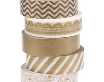 Metallic Gold Washi Tape, Stripes, Chevron, Lace . 5 rolls