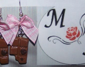 boucles d'oreilles mini tablette de chocolat