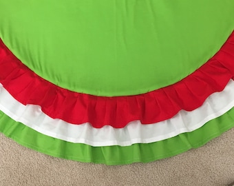 """Ruffle 48"""" Christmas Tree Skirt in Red Green and White or Design Your Own"""