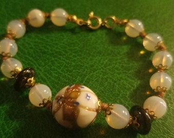 Vintage wedding cake bead and opaline glass bracelet gold filled or plated minty 7 3/4""