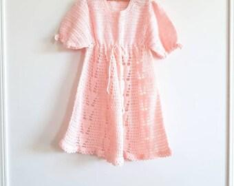 Vintage Pink Knit Girl's Dress