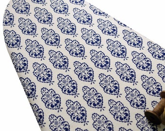Ironing Board Cover with ELASTIC AROUND EDGES made with delft blue medallions on white 100% linen, select the size