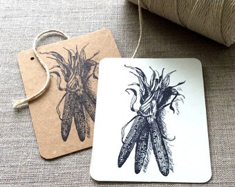 20 Indian Corn Gift tags, harvest gift tags, fall gift tags, etsy shop supplies, Gardening supplies, corn cards, vegetable gift tags