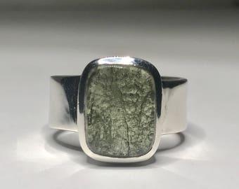 Moldavite Ring US 8