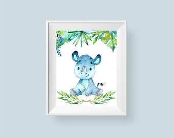 Baby Rhino Print, Rhinoceros Jungle Nursery Print, Safari Printable Wall Art, Baby Room Decor Leaves Flowers 8x10 Instant Digital Download