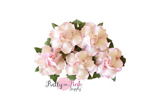 1 premium white with pale pink edges paper flowers wire mightylinksfo