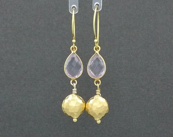 Pink Amethyst & Gold Vermeil Earrings with Hammered Beads/Gifts/Presents