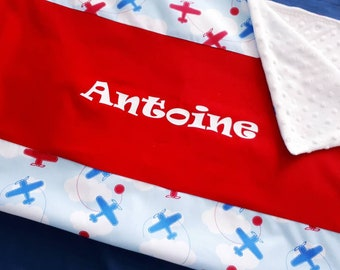 Blanket 75 x 100 cm with name cotton airplanes, clouds and sky blue minky Oeko Tex certified to order.