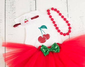 CHERRY BIRTHDAY Outfit, Girls Cherry Outfit, Red and Green Cherry Tutu Outfit, Baby Girl Cherry Birthday, Cherry Birthday Set