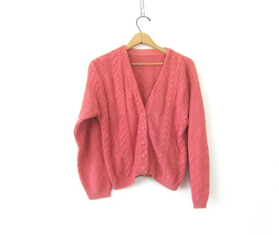 Cable Knit Knit Sweater | Pink Cardigan | 90s Cableknit Sweater | Simple Button Up Cotton Sweater Top | Preppy Vintage Womens Cotton