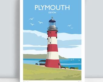 Plymouth, Devon. HAND SIGNED Art Print/Travel Poster.