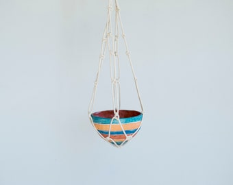Macrame Planter. Hanging Planter. Hanging Pot. Macrame. Planter. Pottery. Ceramic Planter. Colorful.