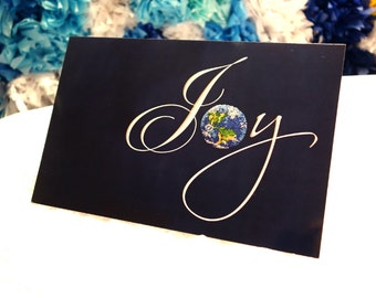 "JOY to the WORLD - Dotted Planet Earth - Large Greeting Art Card 5.5"" X 8.5"""