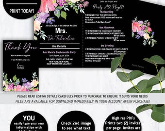 Bachelorette Party, Bachelorette Timeline, Bachelorette Invite, Itinerary Invites, Bachelorette Invites, Party Itinerary, Hens Night,