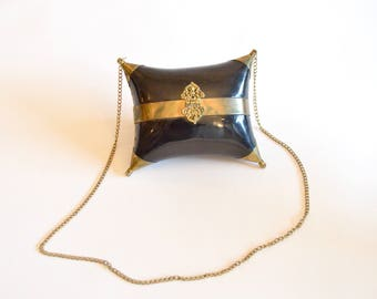 Vintage BRASS metal shoulder bag