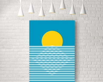 Sunrise, sun art, mid century print, minimalist wall art, retro print, nordic design, minimalist art, retro poster, sun print, abstract art