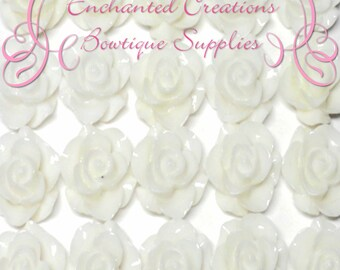 Resin Flower Cabochon 20mm, White Roses, Uses Include Earrings, Magnets, Pins, Thumbtacks, Chunky Jewelry, Wine Charms, Pendant, Jewelry