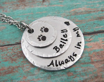 Always In My Heart Personalized Dog Memorial Necklace, Pet Remembrance Jewelry, Hand Stamped Necklace,  Custom Pet Memorial