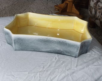 Vintage Yellow and Gray Console Dish